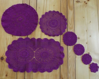 vintage hand-made 7 doilies / placemats vintage tinted / Doilies crocheted made in France