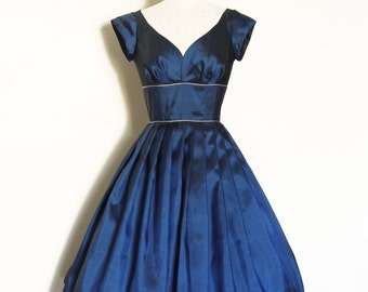 Midnight Blue Taffeta Sweetheart Prom Dress with Silver Piping  - Made by Dig For Victory