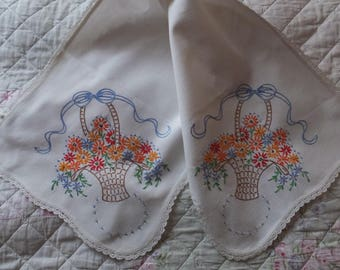 Vintage Hand Embroidered Crochet Flower Basket Lace Dresser Scarf Table Runner