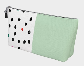 Mint and Polka Dot Makeup Bag