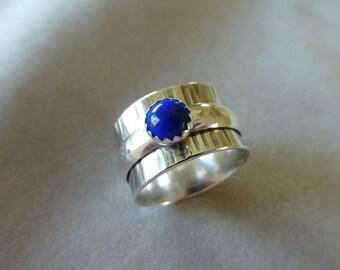 Sterling Spinner Ring with Lapis Lazuli, Meditation Ring, Spinner Ring, Sterling Ring, Wide Band Ring, Size 7.5, Lapis Lazuli