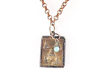 Budda Relic Necklace with Turquoise Accent on Copper, Silver, Olive, or Black Chain. Boho Chic, Budda, Rustic, Spiritual, Layering Necklace