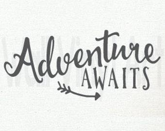 Adventure Awaits, Vinyl Decal- Wall Art, Vinyl Lettering Art,Vinyl Decor, WallVinylArt, Peter Pan Quote, Peter Pan Saying, Arrow Art