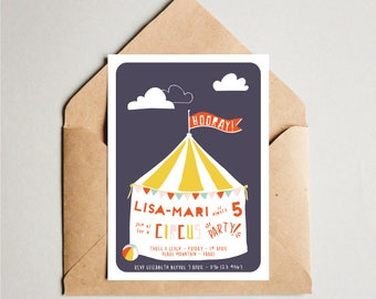 Circus Printable Invitation, Circus Birthday Party, Midnight Circus, Circus Invite, Printable DIY Invite,Affordable Invitation