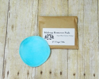 Aqua Blue Cotton Velour Makeup Remover Pads- Set of 5 - Face Cloth - Face Scrubbie