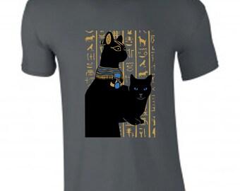 Egyptian cat t-shirt, cat tee, cat gift, cat lover t shirt, bast t shirt, bastet tshirt, spirit animal, grey t shirt, black cat t shirt
