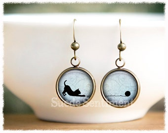 Cat Earrings • Cat Jewelry • Cat Lover Gift • Gifts For Cat Lovers • Pet Rescue Jewelry • Animal Earrings