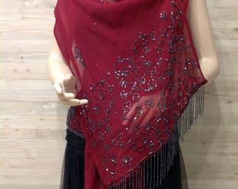 Rare Vintage 70s Burgundy Evening Chiffon Shawl Wine Dark red hand made shining bead embroidered bead fringes Scarf Wedding Shoulder Shawl