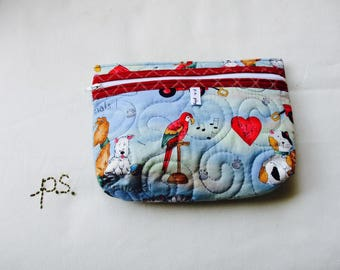 Medium Quilted Pet Shop Pouch - Quilted Pet Shop School Supplies Pouch