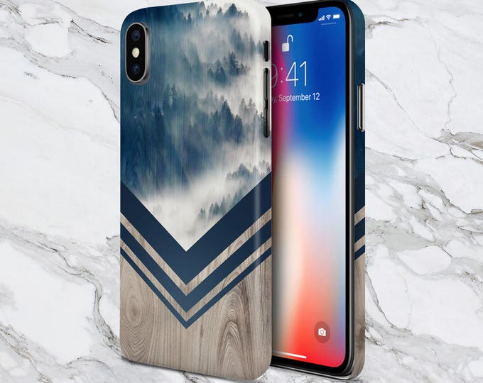 Featured listing image: Galaxy s9 Case - Phone Case - iPhone X Case - iPhone 8 case - Tough iPhone Case - iPhone 8 Case - Mountain Fog Navy x Chevron Wood Case