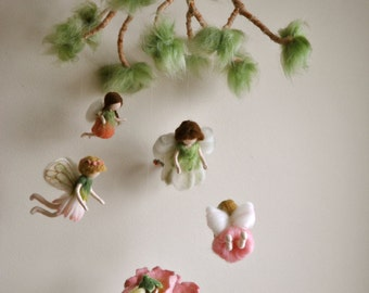 Children Mobile Spring Fairies /Room Decoration/ needle felted dolls: Flower  fairies. MADE TO ORDER