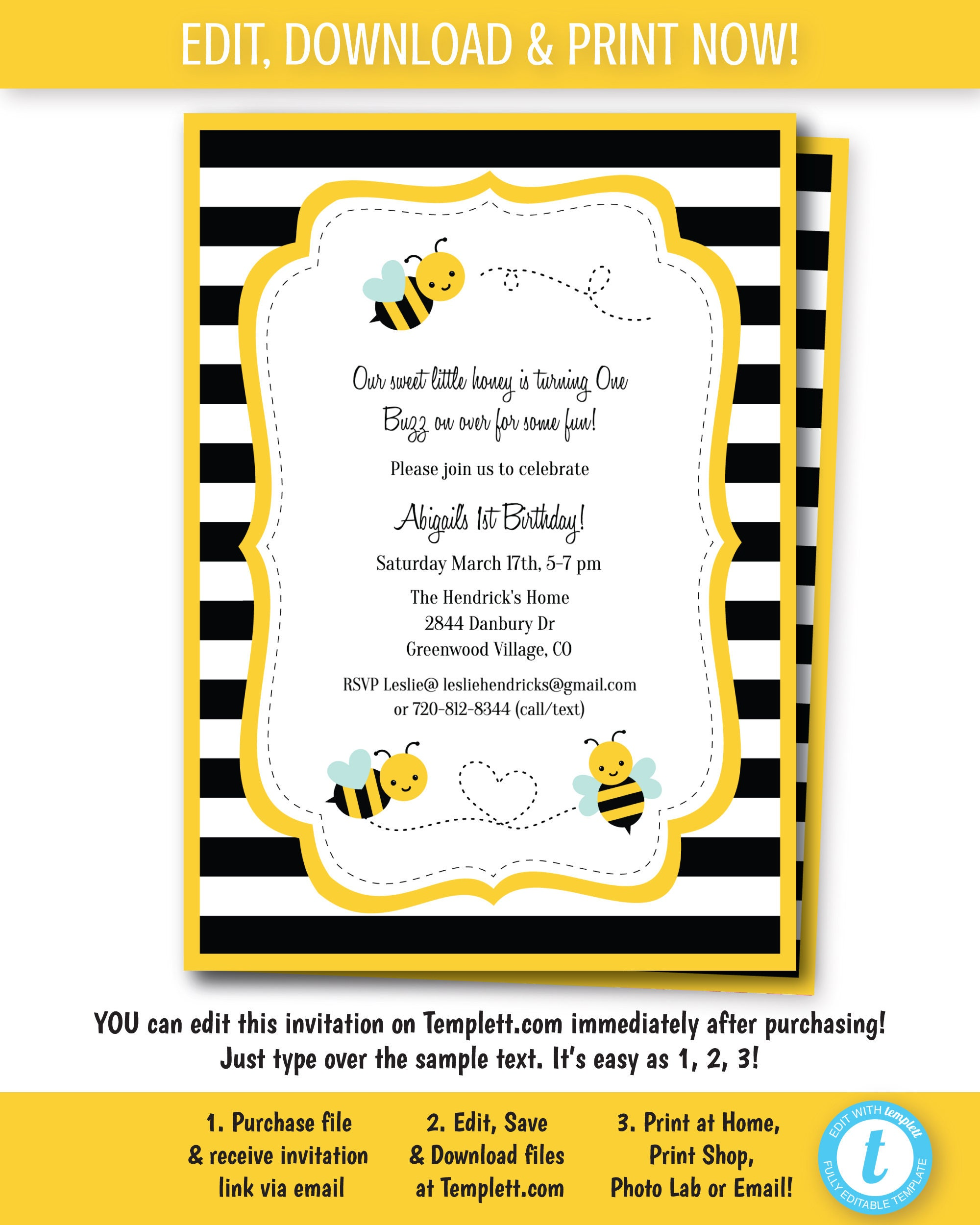 Bumble Bee Party Invitation/ Bumblebee Birthday Party Invite/
