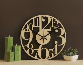 Large numbers clock, Wood wall clock, Laser cut wood clock, Silent no ticking mechanism, Unique wall clock, Modern rustic wall decor