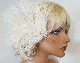 Wedding Headpiece, Bridal Fascinator, French Net Bridal Veil, Wedding Fascinator, Feather Fascinator, Great Gatsby Style, Art Deco, 1920's