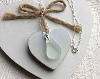 Sea glass necklace - frosted pear shaped glass pendant - sterling silver - Seaham sea glass jewellery - English sea glass