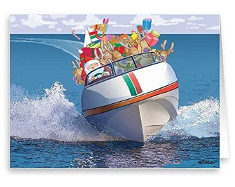 Speedboat Cruising Christmas Card - Boating 18 Cards & Envelopes - 60034