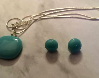 turquoise fused glass set