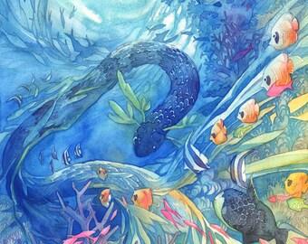 Tropical Ocean Leviathan Fish Watercolor Poster Print
