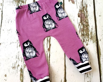 NEW! Penguin baby leggings, Baby clothes, purple baby leggings, organic baby clothes, baby clothes, baby trousers, baby pants, baby shower