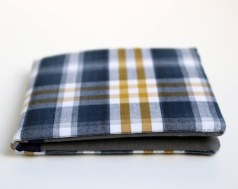 Mens wallet, Wallet, Billfold, Vintage Upcycled Fabrics, Navy plaid, Handmade by Knotted Nest on Etsy