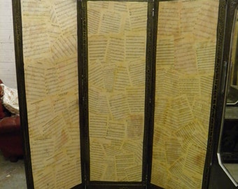 Decorative Antique 3 Fold Dressing Screen with Vintage Sheet Music Decoupage