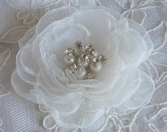 Singed Flower Organza Flower With Pearl and Rhinestone (3-1/4 inches) In White MY-346 Ready To Ship