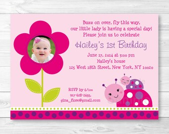 Ladybug Birthday Invitation PRINTABLE Any Age A243