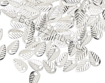 10 Little Silver 7mm Double Sided Teardrop Leaf Drop Charms With Hole Plated Brass Base Metal