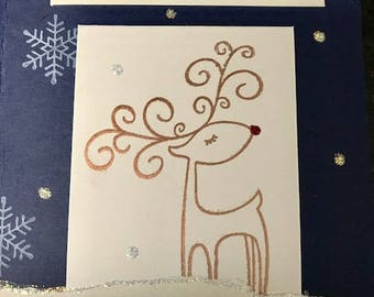 Blue Reindeer Homemade Card
