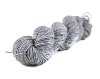 Alpaca Silk Yarn, Sport weight yarn, alpaca yarn, silk yarn, sport weight alpaca yarn, hand dyed yarn, gray, silver, grey - Dove