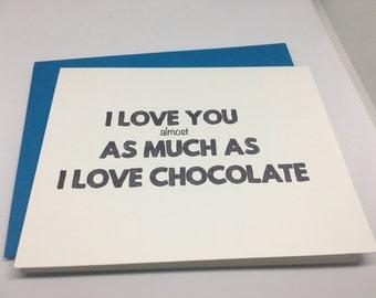 Love Card - I Love You Card - Handmade Greeting Card