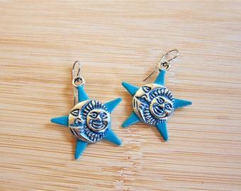 Sun Moon Star Charm Earrings Hand Painted Dark Turquoise