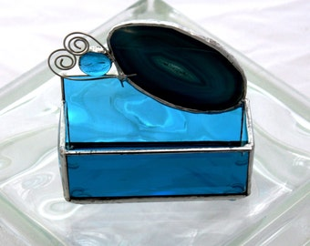 Turquoise Blue Agate Stained Glass Business Appointment Card Holder
