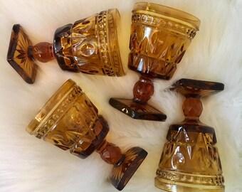 Vintage Amber Glass Goblets - Set of 4 / Gold Cut Glassware / Mid-Century Stemware