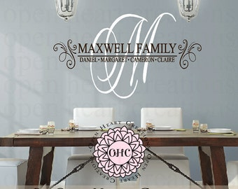 Family Name Wall Decal with Initial Name and Family Member Names - Small to Large Size Last Name Monogram Vinyl Wall Decal PD0068