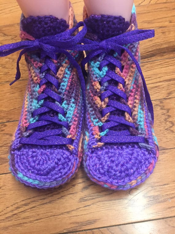 Crocheted crocheted sneakers Shoe slippers tennis slippers crochet 192 house flower 8 10 shoes Sneaker Size shoes purple Slippers Tennis rCwq4rY