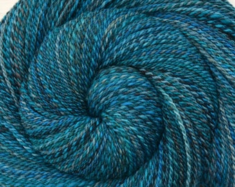 Handspun Yarn Fingering weight - TEAL FEATHER - Handpainted Merino wool, 370 yards, gift for knitter, teal hand spun yarn