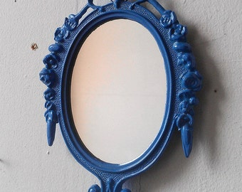 Oval Mirror in Small Vintage Periwinkle Blue Frame, Cubicle Decor, Bridesmaid Gifts, Small Wall Decor, Wall Mirror Collage