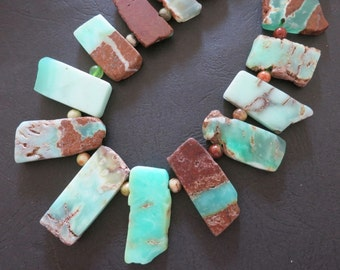 As Pictured- Mint Green Chrysoprase Slabs Point Pendant Beads 21-43mm--Top Drilled-- 19pcs- set 15