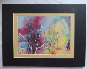 """Watercolor painting abstract """" Forest of Color"""" 7X9 matted in a gold and black mat 12x16"""
