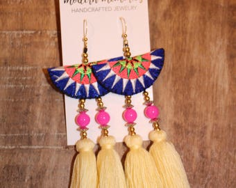 Boho Cotton Tassel Earrings | White Tassel Earrings | Colorful Boho Earrings, Tassel Dangle Earrings, Tribal Earrings