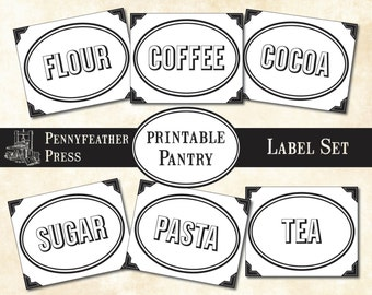 Printable Pantry Label Set Stickers Dry Goods Food Clip Art