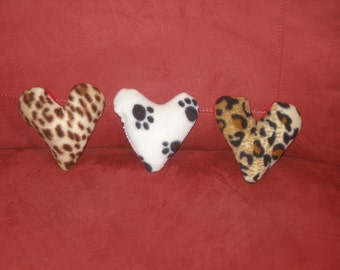 VALENTINE HEART - FUN Squeaker toy - Choose leopard, zebra, paw or cheetah w red back