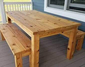 Outdoor Cedar Picnic Table Set
