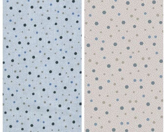 Blue or Light Gray Small Geometric Dots/Polka Dots -  Primitive - 100% Quilting Cotton Fabric [[by the half yard]]