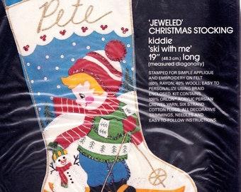 Vintage Ski with Me Child Skiing Snow Christmas Felt Stocking Kit Bucilla 3573