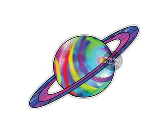 Saturn Sticker - Colorful Planet Bumper Sticker Laptop Decal Outer Space Galaxy Car Decal Universe Saturn Tumbler Decal Vinyl Sticker