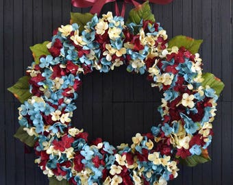 """Red White and Blue Blended Hydrangea Front Door Wreath - 22"""" Diameter"""