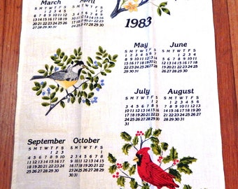 1983 Calendar Linen Kitchen Towel Bird Motif