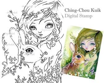 Hello Spring - Digital Stamp Instant Download / Fantasy Art by Ching-Chou Kuik